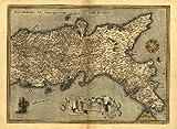 Riproduzione dell'Italia, mappa antica Napoli, Italia), (Repubblica Italiana di Abraham Ortelius, formato A1, dimensioni 78 x 57 cm