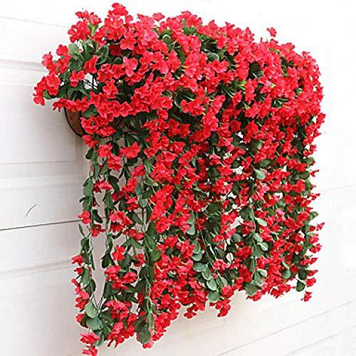 SLJHUA Home Decor Blume Künstliche Blume Kunstblumen Pflanzen Ordnen Diyfamilie Hotel Braut Garten 2 Niederlassungs-Modernes Art-Veilchen-Wand-Blumen-Rot