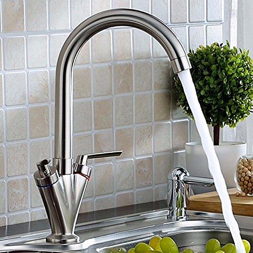 TAPCET Monomando Grifo para Cocina Baño Lavabo Caño Giratorio para Fregadero Grifo de Agua Caliente y Fría