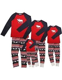 Pijamas de Navidad Familia Conjunto Pantalon y Top Fiesta Manga Larga Trajes Navideños Reno Pijama Dos