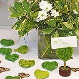 Weddix Sisalherzen als Streudeko - Tischdeko Hochzeit, romantische Deko Herzen für Valentinstag, Liebeserklärung und Heiratsantrag, grün - 5