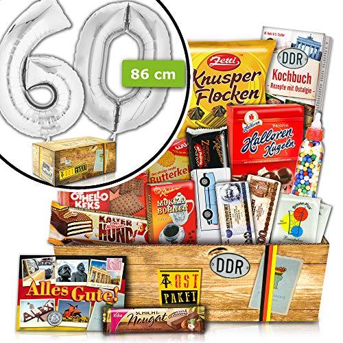 Geschenk Ideen zum 60 | Süßes DDR Geschenkset | INKL. FOLIENBALLON 60 Silber