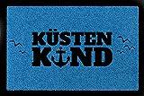 Interluxe FUSSMATTE Türvorleger KÜSTENKIND Flur Meer Nordsee Maritim Geschenk Strand Royalblau