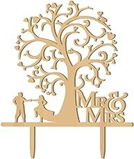 Cake Topper Wood Bird Tree Wedding Cake Decorations (Wood Colour)