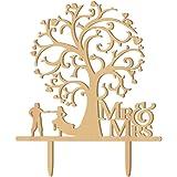 Winomo Mr Mrs Hart boom hout bruidspaar als taartdecoratie bruiloftsdecoratie taartopzetstukken