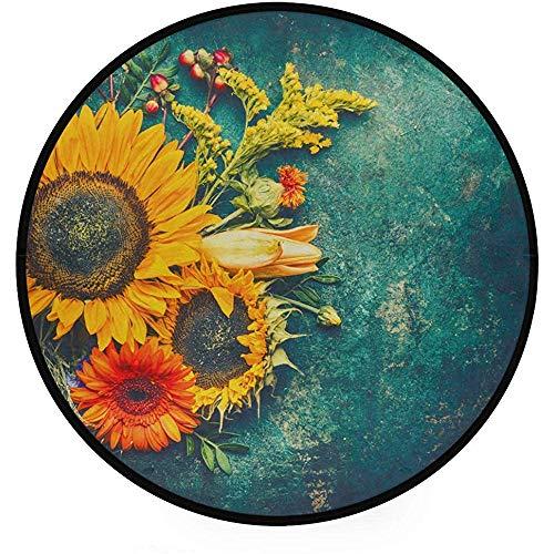 Liz carter 60cm tappeto tondo super soft light, composizione floreale autunnale realizzata con foglie di girasoli, moquette circolare