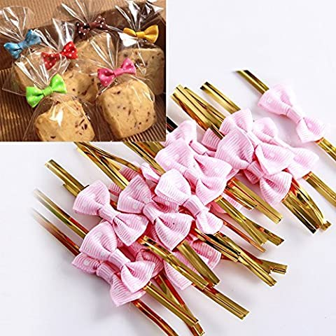 Rethinkso 50pcs Rose Bowknot Gift Wrapping Metallic Twist Ties for Party Bakery Cookie Candy Bags size 40pcs (pink)
