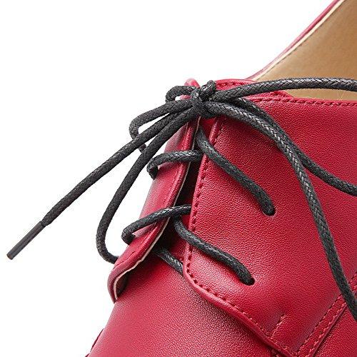 VogueZone009 Donna Tacco Alto Finta Pelle Scamosciata Puro Allacciare Punta Tonda Punta Chiusa Ballerine Rosso
