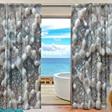 DEYYA 2 PCS Fensterdekoration Sheer Curtain Panels, Seestern Shell Holzpantoletten, Fenster Tie Top Vorhang 55x84 Zoll 2 Panels Set 55x78x2 ​​(IN) Mehrfarbig