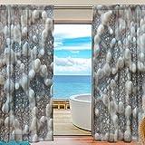 DEYYA 2 PCS Fensterdekoration Sheer Curtain Panels, Seestern Shell Holzpantoletten, Fenster Tie Top Vorhang 55x84 Zoll 2 Panels Set 55x78x2 (IN) Mehrfarbig