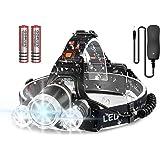 Newlemo Oplaadbare koplamp met 3 lampen, 4 modi, superheldere ledlamp met 6000 lumen, handsfree zaklamp, hoofdlamp voor hardl