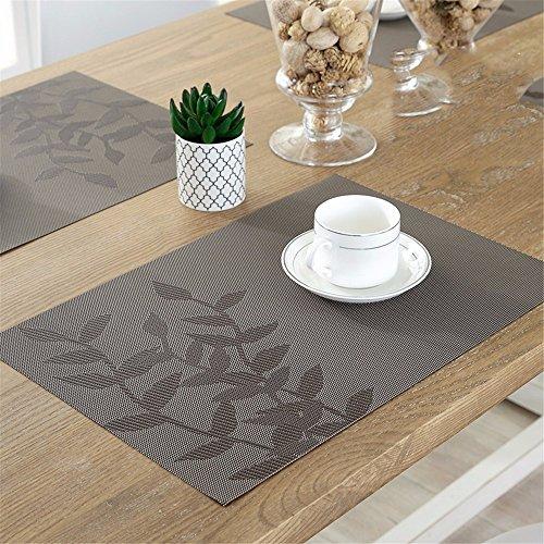XXSZKAA Table De Vaisselle Creative Tableau Mat Feuille De Table Tapis Européen Pvc Isolé Table Mat Table De Cuisine Accessoires Plaque Mat, Brun 4 Pièces, 45 * 30Cm