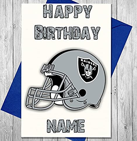 American Football Oakland Raiders - Personalised Birthday Card - Any name and age printed on the