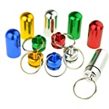 SROVFIDY Estone 1 pastillero impermeable de aluminio con anilla para llavero, varios colores, a