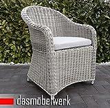 dasmöbelwerk Polyrattan Stuhl mit Sitzpolstern Rattan Stuhl Relax Sessel Gartenmöbel Gartenstuhl PANAMA Silber Hell