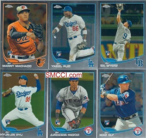 2013 Topps Chrome Baseball Series Complete Mint 220 Card Set; It Was Never Issued in Factory Form. Loaded with Rookies and Stars Including Yasiel Puig, Manny Machado, Wil Myers, Derek Jeter, Buster Posey, Albert Pujols, Dustin Pedroia, Stephen Strasburg, Bryce Harper and Others. by The Strictly Mint Card Co.