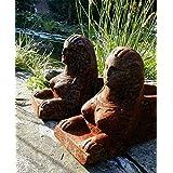 """Antikas - juego de caballetes soportes para la chimenea de hierro fundido - caballetes """"esfinge"""" antiguos como perros"""