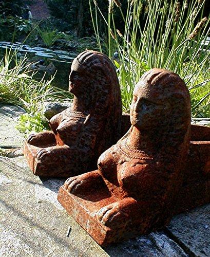 Antikas - Kaminböcke zur Holzauflage für Herdfeuer, Kaminhunde-wie antik Feuerböcke Sphinx, 2...