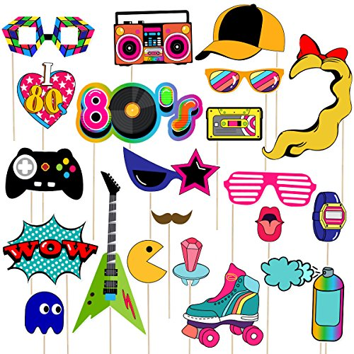 80s Party Photo Booth Props Set - 21 pieces