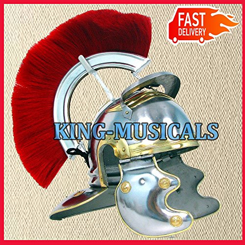Nasir Ali Mittelalterlicher römischer Zenturion-Helm, Rüstung mit rotem Wappen, Gladiator-Kostüm, Gladiator-Kostüm