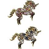 Set de 2 Piezas, Hermoso Prendedor de Unicornio, Pin de Solapa, Tamaño de 5.7x3.4cm