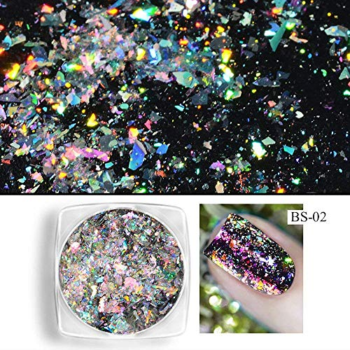 KOKOUK Nail Art Stickers Nail Powder Neon Mirror glitter Mirror Effect Rainbow Crystal Opal(B) (D) -