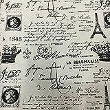 Vaessen Creative Paris 1845 bedruckter Baumwollstoff, Schwarz/Weiß, Einheitsgröße