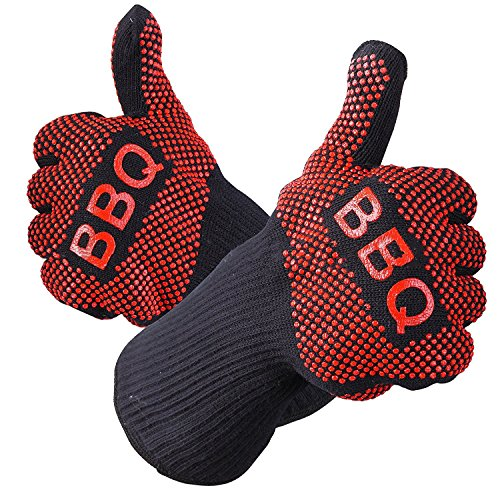 mige 932°F Extreme hitzebeständig BBQ Handschuhe, EN407zertifiziert Handschuhe, dick,,, Gewicht, flexible, Wärme Proof Ofen Handschuhe, Best isoliert Hitze, Küche, kochen, Grillen und Lebensmittel Handhabung (Kinder Pizza Kostüme)