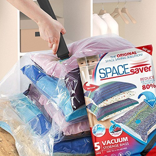 Space Saver Vacuum Storage Bags with Hand-Pump, Large, 5-Pack
