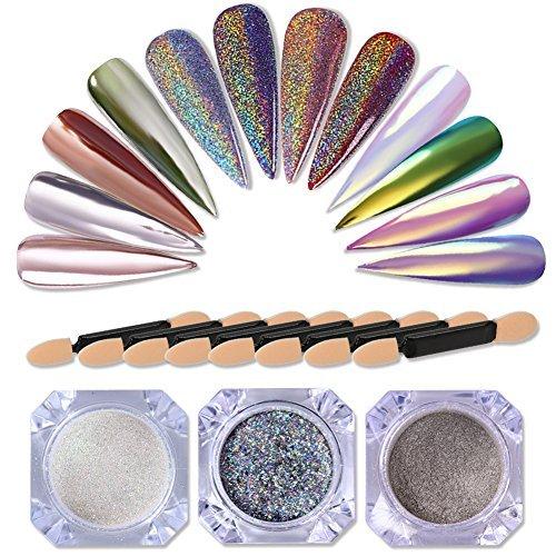 Nicole diary 3 scatole polvere laser olografica arcobaleno neon chameleon specchio sirena arcobaleno holo nail art pigmento polvere glitter + 8 pz pennello ombretto pennello trucco kit ricambio