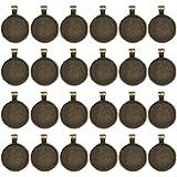 Ucatcher 24 STÜCKE Lünette Anhänger Trays Runde Cabochon Einstellungen Trays Anhänger Rohlinge, 25mm Durchmesser, antike Messing Farbe