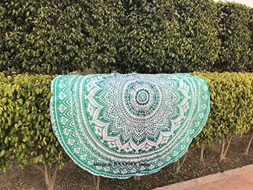 Tela redonda de mandala estilo hippie,de diseño indio bohemio, ideal como colcha, tapiz decorativo, mantel o toalla de playa, para meditación y yoga, 175 cm, algodón, Verde, 70 in