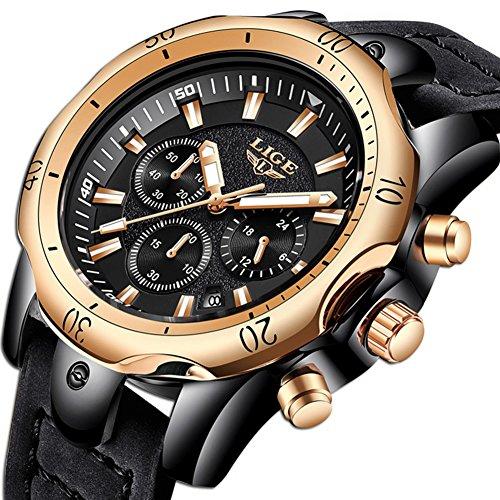 Orologi uomo,lige cronografo impermeabile sportivo militari analogico al quarzo orologio big face data moda casual orologi da polso con cinturino in pelle oro rosa nero