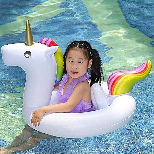 Asamoom Unicornio Flotador para Bebé Barco Inflable Flotador Piscinas Juguetes para de Natación en para Niños(90CM*60CM*50CM)