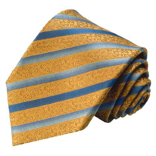Lorenzo Cana - Krawatte aus 100% Seide Braun Blau Streifen Binder Schlips - 84365 - Italien Seide Krawatte