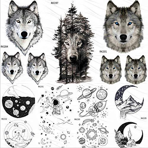 KAMRL Temporäre Tattoo-Aufkleber Forest Tribal Wolf Männer Frauen Temporäre Tattoos Wasserdicht Art Planeten Tattoo Papier Arm Gesicht Fake Little Tattoo Sticker (Wolf Kostüm Augen Make Up)