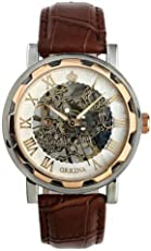 Voberry Unisex-Baby Luxury Mans Leather Band Stainless Skeleton Mechanical Wrist Watch
