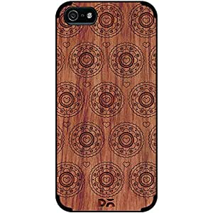 DailyObjects Blue Flowers Real Wood Red Chestnut Case For iPhone 5/5S
