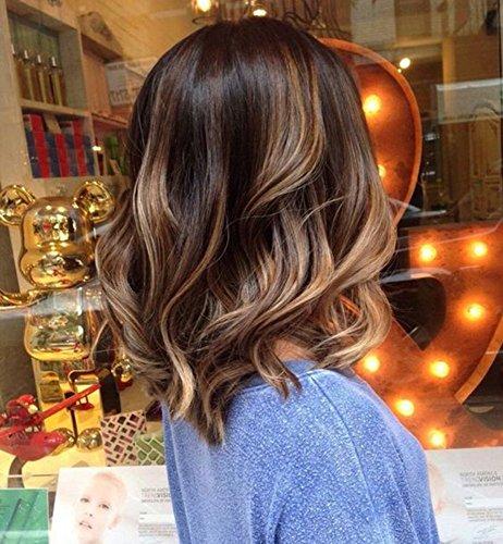 ark Roots Human Hair Perucke Front Lace Wig With Combs Dunkle Wurzeln Farbe Mittel Braun Fading zu Aschblond Remy Wig Ombre 100% Menschenhaar Bob Wig (Rabatt Perücken Online)