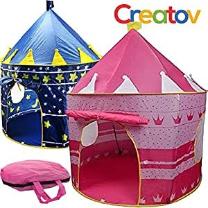 Creatov Children Play Tent Girls Castle For Indoor/Outdoor Use, Foldable With Carry Case Free Pink by Creatov®