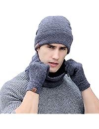 bb9531a41ba 3 PCS Winter Beanie Hat Scarf Gloves Set