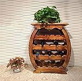 HETAO personalidad creativo nórdico Retro muebles de jardín carbón de leña muebles de madera tambor en forma de estante del vino, madera maciza, 64 * 28 * 75 cm Estante