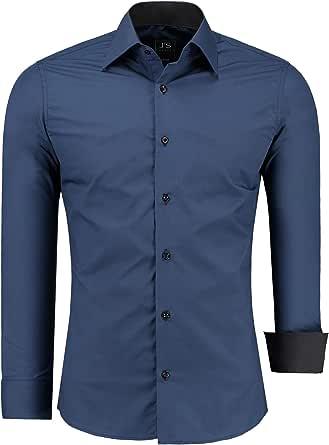 J'S FASHION - Camicia da Uomo - Casual Classico - Facile Ferro - EU Size: S - 6XL