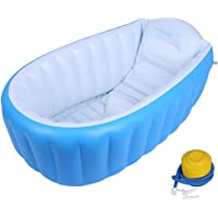 Safe-O-Kid Inflatable Baby Bath Tub with Air Pump, Non-Slip, Travel-Friendly, Foldable Shower Pool for Kids - Blue