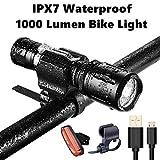 IPX7 Wasserdichtes Fahrradlicht-Set - 1000 Lumen Mini Fahrradscheinwerfer Gratis Rücklicht - USB-Schnellladung des Hochleistungs-Akkus einfach zu montieren & universell passende Halterung