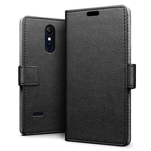 SLEO LG K11/LG K10 2018/K10+ 2018 Hülle, PU Leder Case Tasche Schutzhülle Flip Case Wallet im Bookstyle für LG K11/LG K10 2018/K10+ 2018 Cover - Schwarz