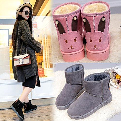 Auspicious beginning Les femmes hiver chaud Anti-Skid peluche doublure molletonnée Chaussures de plein air Bottes de neige Noir