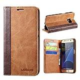 Handyhülle Samsung S7 Lensun Handytashce Samsung Galaxy S7 Hülle mit Kartenfächern Standfunktion Flip Case Schutzhülle Ledertasche – Braun (S7-FG-BN)
