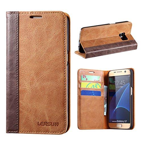 LENSUN Samsung Galaxy S7 Hülle, Handyhülle Handytasche Samsung Galaxy s7 (5.1 Zoll) Leder Tasche Huelle Flip Case Ledertasche Schutzhülle - Braun (S7-FG-BN)