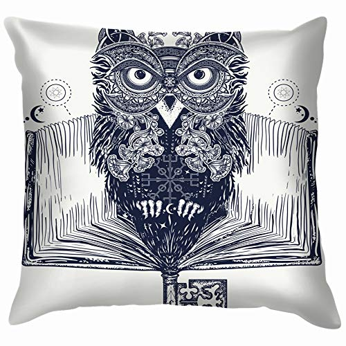 Owl Open Book Tattoo Tshirt Design Education Pillow Case Throw Pillow Cover Square Cushion Cover 18X18 Inch